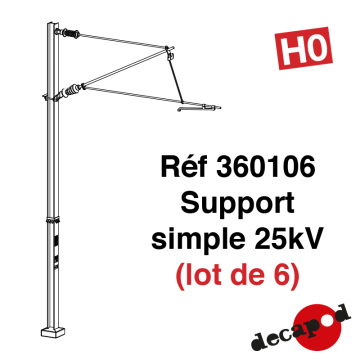 Supports simples 25kV (lot de 6) [HO]